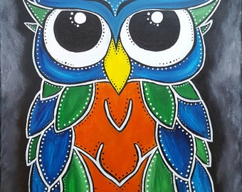 Housewarming Gift Owl Painting, Colorful Owl, Wall Decor Owls, Owl Acrylic Painting, Living Room Decor, Babies Room, Owl Gift, Nursery Decor