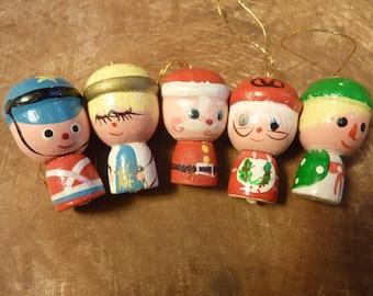 5 Miniature Christmas Ornaments Wood Vintage Hand Painted Santa Mrs. Claus Angel Soldier (#218)