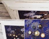 Tableau d'affichage aimanté recouvert de tissu chinois bleu noir blanc pour mémo photos affichage organisation bureau décoration murale