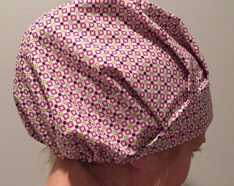 Violet and Green • bouffant scrubhat with adjustable elastic closure.