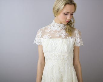 1960's All lace A-line Wedding Gown / high neck / beaded / xs s