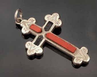 Antique Silver Agate Cross Pendant, Victorian Carnelian Cross