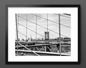 Brooklyn bridge etsy for Brooklyn bridge black and white wall mural