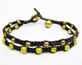 Woven Bead Bracelet - Lemon Quartz Bead Brass Bead Bracelet.