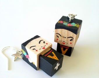 """Earrings Wooden Dolls """"Frida Kahlo""""- Hand-made"""
