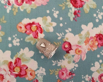 Half a meter Flowercloud Teal, Tilda fabric, floral cotton, quilt fabric, Cabbage Rose, 1/2 yard
