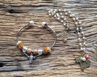 University of Texas Longhorns charm bracelet and necklace set: UT longhorns bangle bracelet and pearl Texas necklace