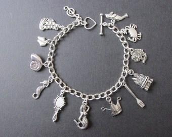 The Little Mermaid Princess Ariel Silver Tone Charm Bracelet  by Tattoo Heroine (1) Mermaid Jewellery Mermaid Bracelet Mermaid Jewelry