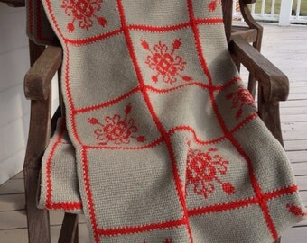 Beautiful red and gray handknit throw