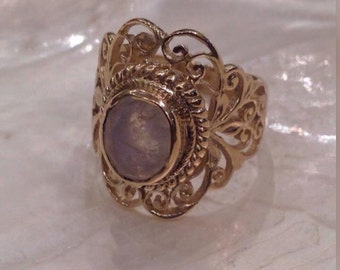 Solid Gold Filigree Moonstone Ring