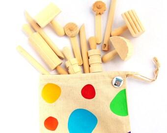 Wooden Dough Tool Set with Cotton Bag