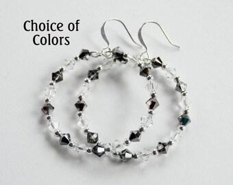 Crystal Hoop Earrings, Swarovski Dangle Earrings, Memory Wire Earrings, Swarovski Hoop Earrings, Medium Hoop Earrings, Leverback, Sterling