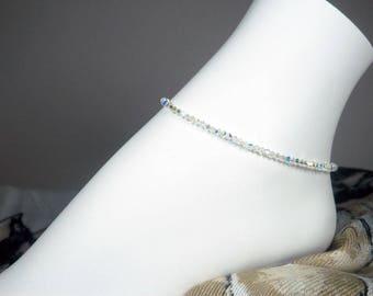 "Swarovski Crystal Ankle Bracelet, Dainty Crystal Anklet, Crystal Bead Bracelet, Girls Size, Plus Size,  7"", 8"", 9"", 10"", 11"", 12"", 13"""