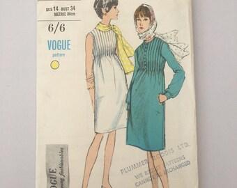 Vintage Vogue Pattern, 1960's Dress, Vintage Sewing Pattern, Vintage Haberdashery, Size 14