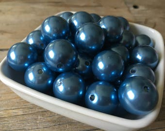 20mm Light Blue Pearl Chunky Bead, Bubblegum Bead, Acrylic Bead, DIY Chunky Necklace, 10 Count