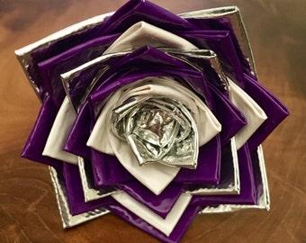 Purple, White, & Silver Duck Tape Flower Pen