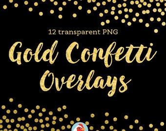 Confetti Clipart, gold foil confetti overlay, confetti borders, digital confetti, gold foil clip art, 5038