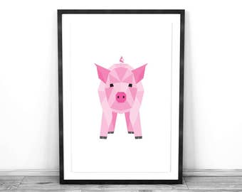 Geometric Animal Wall Art - Pig : Physical Print