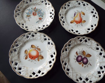4  Victorian porcelain reticulated lattice gold trim hand painted fruit plates