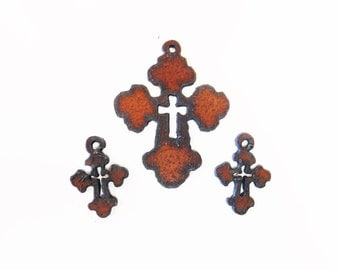 Chubby Cross with Cross Charm with matching earrings made out of rusted rustic rusty recycled metal