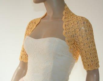 Yellow kntting crochet shrug/ Wedding bolero shrug//Bolero jacket/Lace shrug/Bridal shoulders cover/Bridesmaids Cover up Bolero