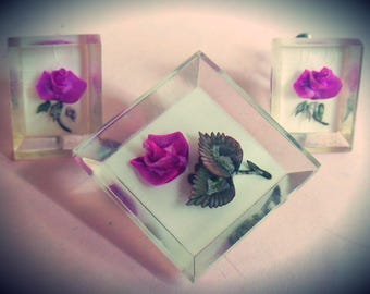 Gorgeous Vintage 1950's Lucite Inclusion Jewellery Set ~ Purple Rose Flower Brooch Pin and Screw Back Earrings, perspex acrylic