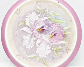 Antique Franz Anton Mehlem Pink Porcelain Trivet Flat Plate Round Tray Orchid Flower Bonn Germany Backstamp 1920 Mark Some Aged Issues