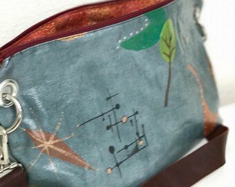 Mid-Century Modern, Hand Painted, Zippered Shoulder Bag