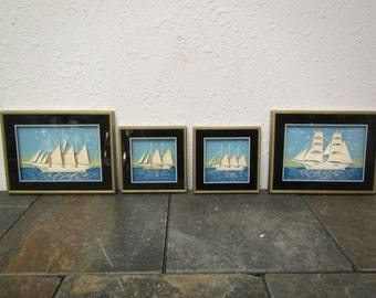 """Set of Four 3 Dimensional Sailboat Pictures * sail ship art *  two 6.5"""" by 5"""" & two  4"""" by 4"""" * handmade in Spain"""