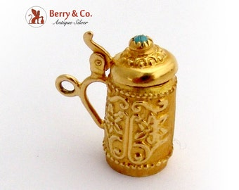 Ornate Tankard Form Charm Blue Cabochon Accent 14K Gold