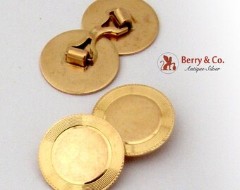 Retro Disk Cufflinks 10K Yellow Gold 1940