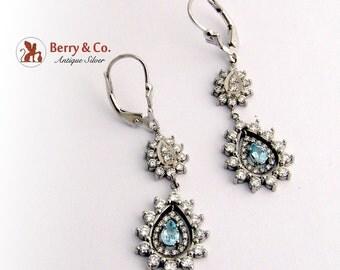 Dazzling Dangle Teardrop Earrings Aquamarine Diamonds 14K White Gold