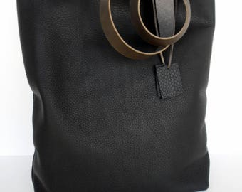 Black Leather Tote Bag -  Leather Bag - Simple Black Leather Bag-Soft Black Leather Tote