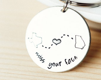 State Keychain - Map Jewelry - LDR State to State - Long Distance Love State Keychain - Choose Your States #ROUNDm