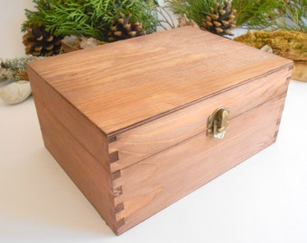 Wooden box chest- large rectangular container box- unfinished wooden box with bronze colored hinges- pine wood box- wooden chest- craft box