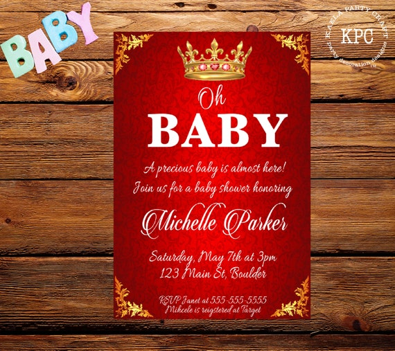 red and gold baby shower invitation red and gold baby shower red and