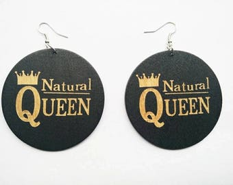 Natural Queen- Wooden Earrings- Qty: 1 pair