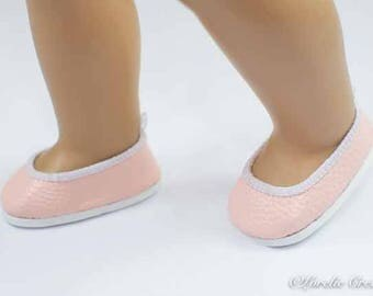 American Girl SHOES Pink Faux Leather Ballet Communion Wedding Flats for American Girl or 18 inch doll
