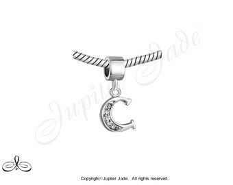 Pugster Silver Plated European Bracelet Charm - Jeweled Alphabet Letter C Dangle - Size compatible w Pandora