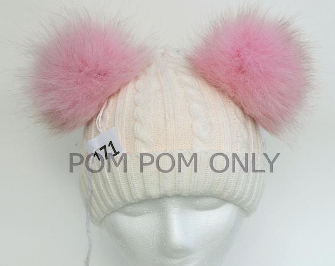 FOX POMPOM Pair! Fur Pom-Pom,Real Fox Fur, Pink Fox Pom Pom, Double Pom Pom, Fox Pom Pom, Pom Pom Ears, Hat, Knitted, Child, Cap, Beanie