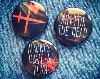 Zombie gift, stocking filler, zombie button badge, funny button badge gift set, set of 3 25mm zombie survival badges