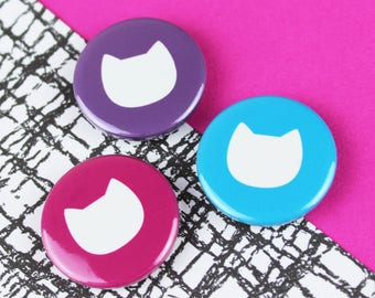 Cat magnets, crazy cat lady gift, set of 3 bold cat 25mm button badges