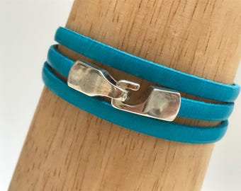 Turquoise Triple Wrap Leather Bracelet with Hook Clasp Leather Bangle, Unisex Leather Bracelet,Women's Leather Bracelet,Turquoise and Silver