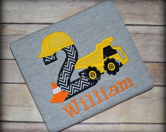 GRAY dump truck construction birthday shirt with cone, first birthday, second birthday, third birthday, fourth birthday