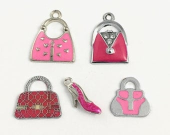 5 handbag and high heel shoe charms,enamel and silver tone,9mm to 25mm,ENS a 328
