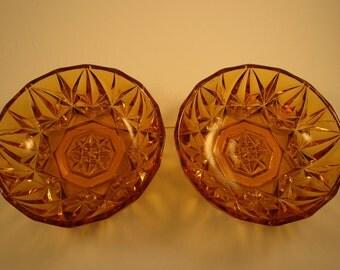 """60s Amber Cut Glass Bowls 5 1/2"""""""