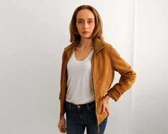 Zipped Suede hooded Jacket, Camel Short Motorcycle Jacket, Tan Leather Zip-up Jacket / Size Small