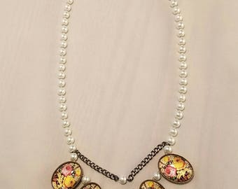 Floral and Pearl Necklace
