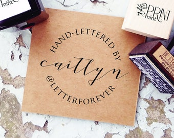 Handmade By Rubber Stamp, Custom Calligraphy Stamp, Hand Made by Stamp, Hand Lettered By Label, Instagram Stamp, Paper Embosser CS-10310