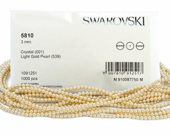 Light Gold,3mm Swarovski Crystal Pearl,(5810) pkg of 50